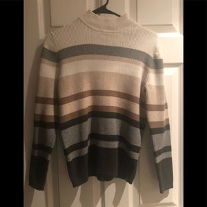 Karen Scott striped mock turtleneck sweater